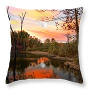 Moon And Pond Throw Pillow
