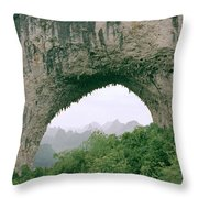 Moon Hill In Guangxi In China Throw Pillow