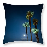 Moon Light And Palm Trees Throw Pillow