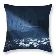 Moon Light Daisies Throw Pillow