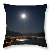Moon Light Over An Alpine Lake Throw Pillow