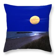 Moon On The Beach Throw Pillow