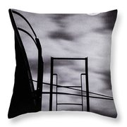Moon Over Brooklyn Rooftop Throw Pillow