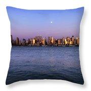 Moon Over Midtown Manhattan Skyline Throw Pillow