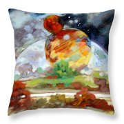 Moon Over New Planet Throw Pillow