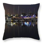 Moon Over The Marina Throw Pillow