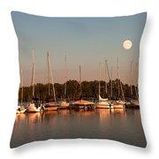 Moon Rises Over The Marina Throw Pillow