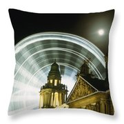 Moon Rising Behind Big Wheel Throw Pillow