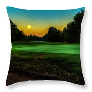 Moon Setting Over The Green Throw Pillow