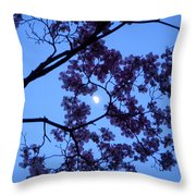 Moon Through Dogwood Throw Pillow