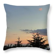 Moon Watching The Sunset In Acadia Throw Pillow