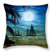 Moonlight Sail - Key West Throw Pillow