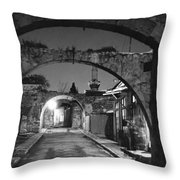 Moonlight View Of Market Street, Odos Throw Pillow