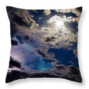 Moonlit Clouds With A Splash Of Lightning Throw Pillow