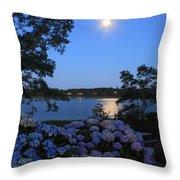 Moonlit Hydrangeas By The Se Throw Pillow