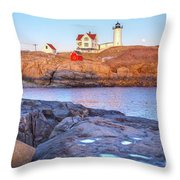 Moonrise At Nubble Light  Throw Pillow