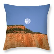 Moonrise Over East Temple - Zion  Throw Pillow