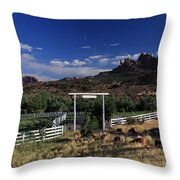 Moonrise Over Grand View Ranch Throw Pillow
