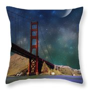 Moonrise Over The Golden Gate Throw Pillow