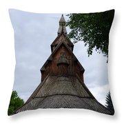 Moorhead Stave Church 7 Throw Pillow