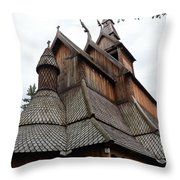 Moorhead Stave Church 8 Throw Pillow