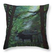 Moose In Pines Throw Pillow