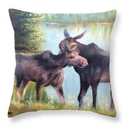 Moose Secrets Throw Pillow