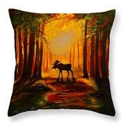 Moose Sunset Throw Pillow