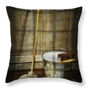 Mop With Bucket And Scrub Brushes Throw Pillow by Sandra Cunningham