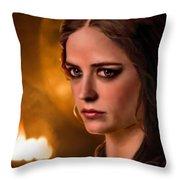 Morgan Pendragon Eva Green Throw Pillow by Jennifer Hickey