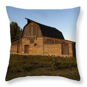 Mormon Row Barn Sunset Throw Pillow
