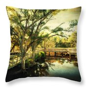 Morning At The Harbor Park Throw Pillow