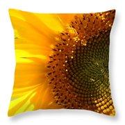 Morning Dew On Sunflower Throw Pillow