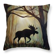 Morning Meandering Moose Throw Pillow