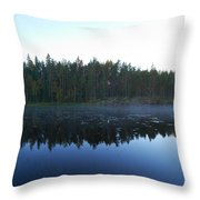 Morning Mist At Haukkajarv Throw Pillow