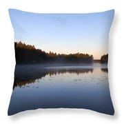 Morning Mist At Haukkajarvi Throw Pillow