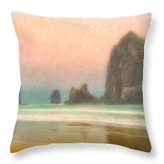 Morning Mist At Haystack Rock Throw Pillow