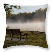 Morning Mist Over The Hudson River Throw Pillow