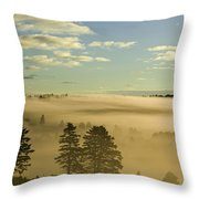 Morning Mist Over Trees, New Glasgow Throw Pillow