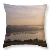 Morning Mist Over Vartry Lake, County Throw Pillow