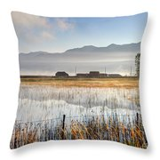 Morning Mists Of Cutler Marsh - Utah Throw Pillow