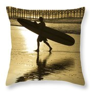 Morning Session Longboard Surfing Folly Beach Sc  Throw Pillow
