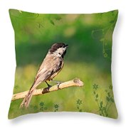 Morning Song Chickadee Throw Pillow