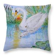 Morning Swim II  Edited Original Art Throw Pillow