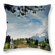 Morning View Of Salzburg From Kapuzinerberg Throw Pillow