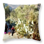 Moroccan People And Cacti Throw Pillow