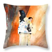 Moroccan Woman Carrying Baby Throw Pillow