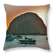 Morro Bay Rock Throw Pillow