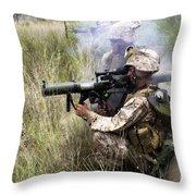 Mortarman Fires An At4 Anti-tank Weapon Throw Pillow by Stocktrek Images