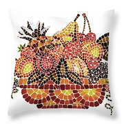 Mosaic Fruits Throw Pillow
